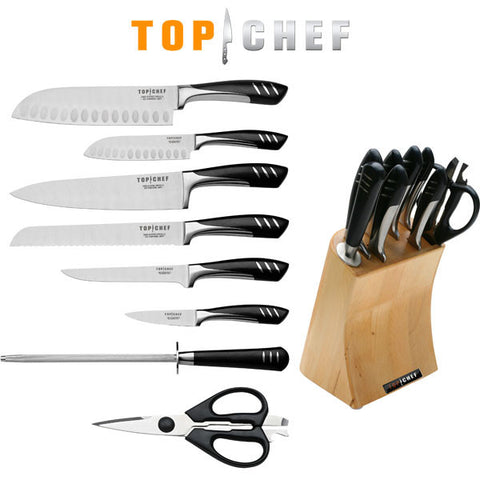 9 Piece TOP CHEF Full Knife Set with Wood Block - The Prepper Supply