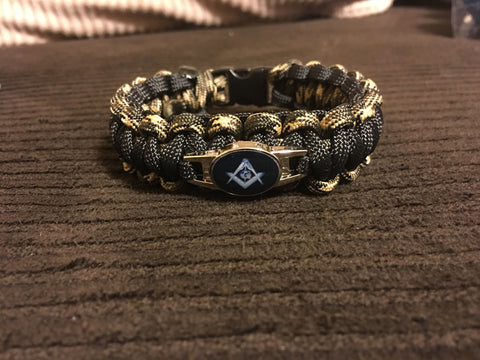 Paracord - Masonic Bracelet (Black and Camo) - 550strong