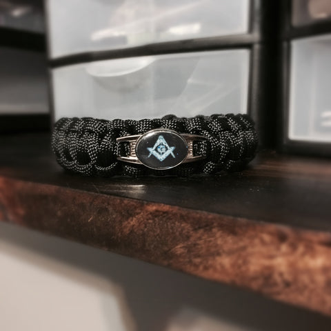 Paracord - Masonic Bracelet (Black) - 550strong