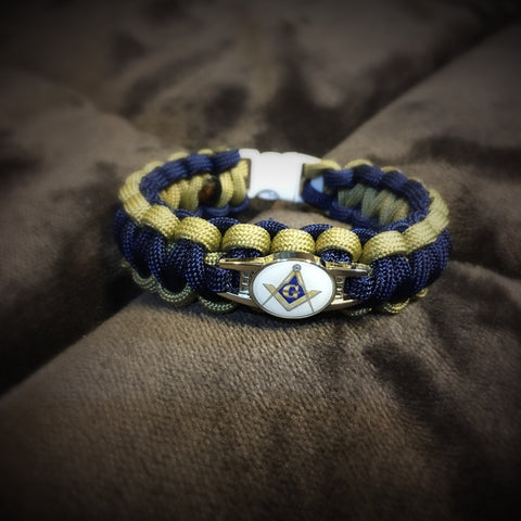 Paracord - Masonic Bracelet (Navy and Gold) - 550strong