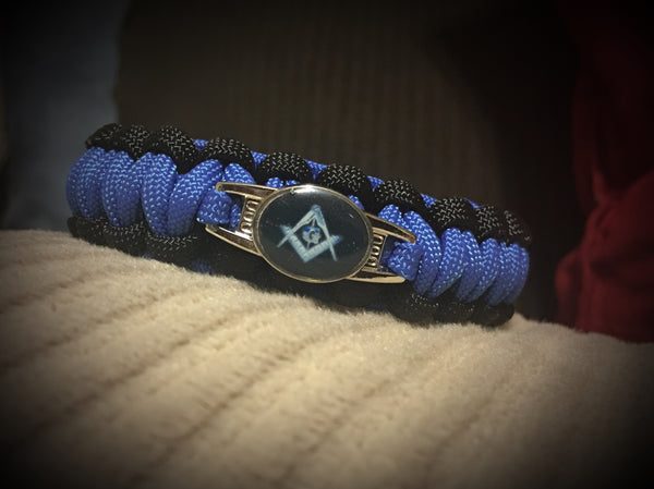 Paracord - Masonic Bracelet (Black and Blue) - 550strong