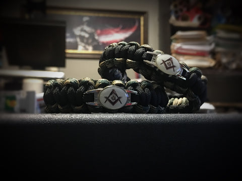 Paracord - Masonic Bracelet (Black and Camo) II - 550strong