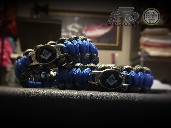 Paracord - Masonic Bracelet (Blue and Camo) II - 550strong