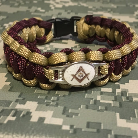 Paracord - Masonic Bracelet (Brown and Gold) - 550strong