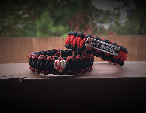 Paracord - Sickle Cell Awareness Heart/Hope Bracelet - 550strong