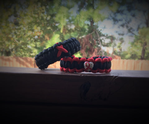 Paracord - Sickle Cell Awareness Ribbon/Heart Bracelet - 550strong