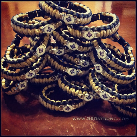 Paracord - Masonic Bracelet (Black and Gold) - 550strong