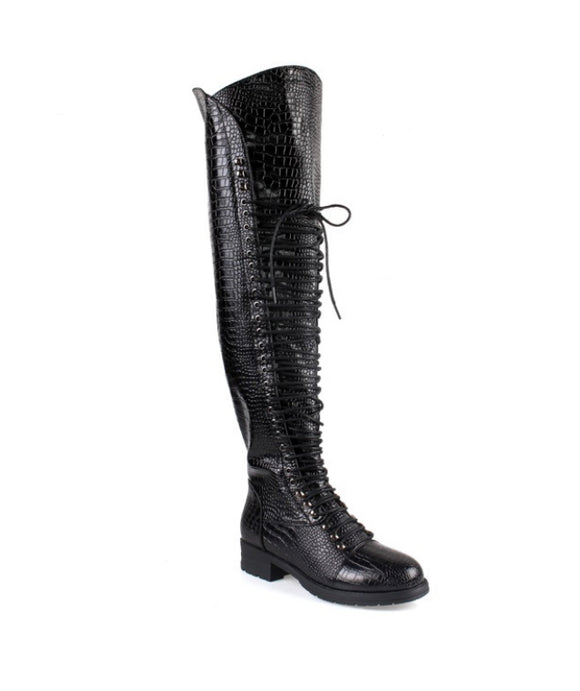 Tabatha Croc Knee Boot