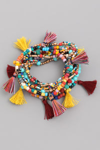 """Arielle"" Multi Colored Beaded Tassel Bracelets"