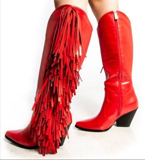 """Stunna"" Fringe Leather Boot"