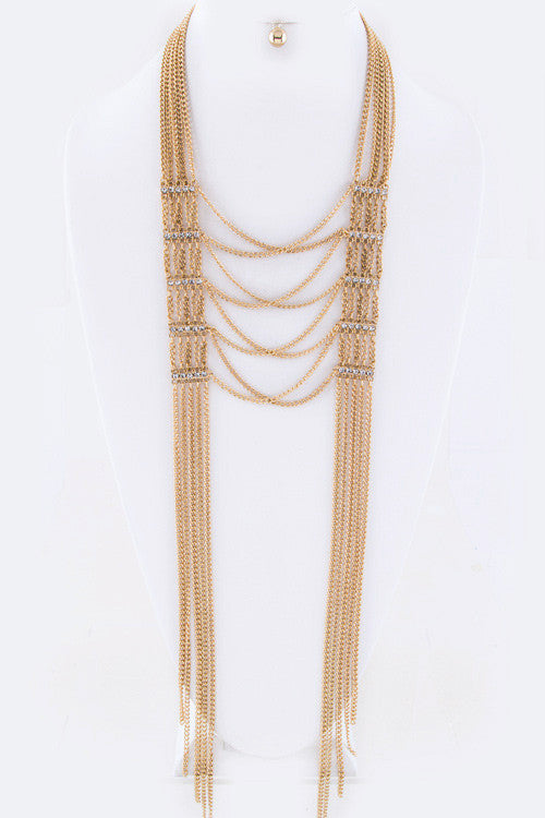 Gold and Crystal Hinge & Layers Chain Drape Necklace