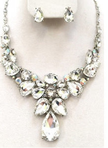 Crystal Tear Drop Statement Necklace Set