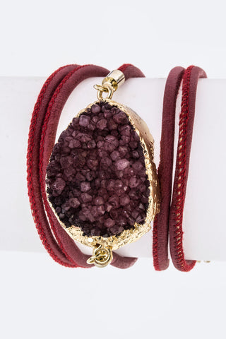 Druzy Charm & Leather Wrapped Bracelet