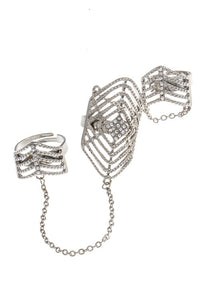 Silver Rhinestone Detailed Double Ring Chain Linked Set