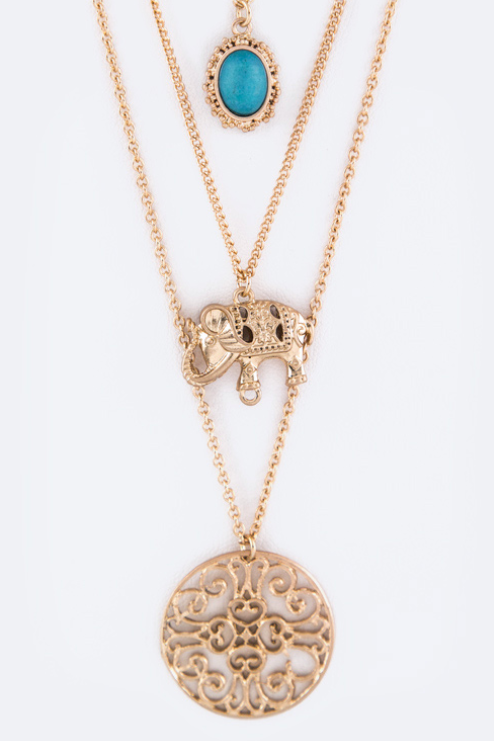 Elephant & Medallion Necklace Set