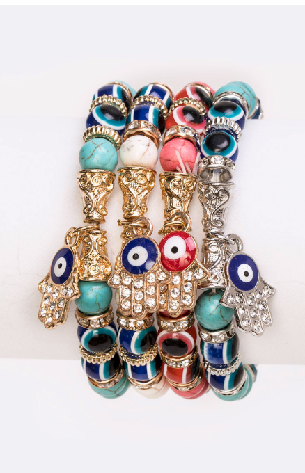Hamsa Jeweled Stretch Bracelet Set