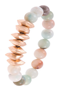 Peach Faceted Metal Semi Bead Bracelet