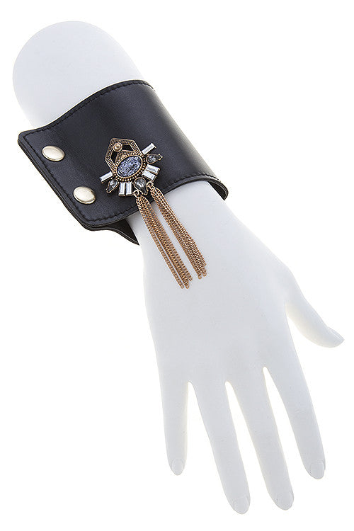 Jeweled Tasseled Leather Cuff