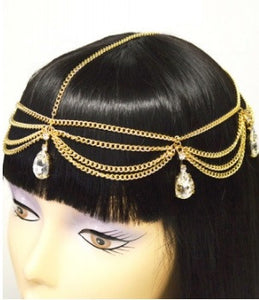 Gold Head Chain w/Tear Drop Crystal