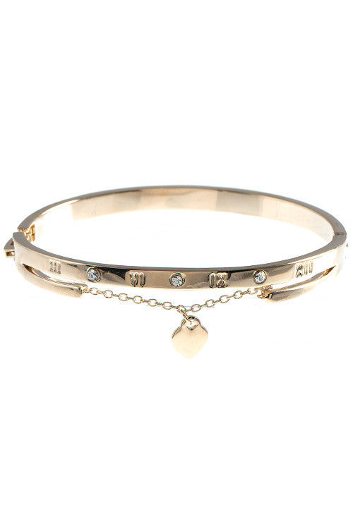 Gold Heart Charm Bangle