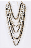 Layered In Pearls & Leather Layered Statement Necklace Set