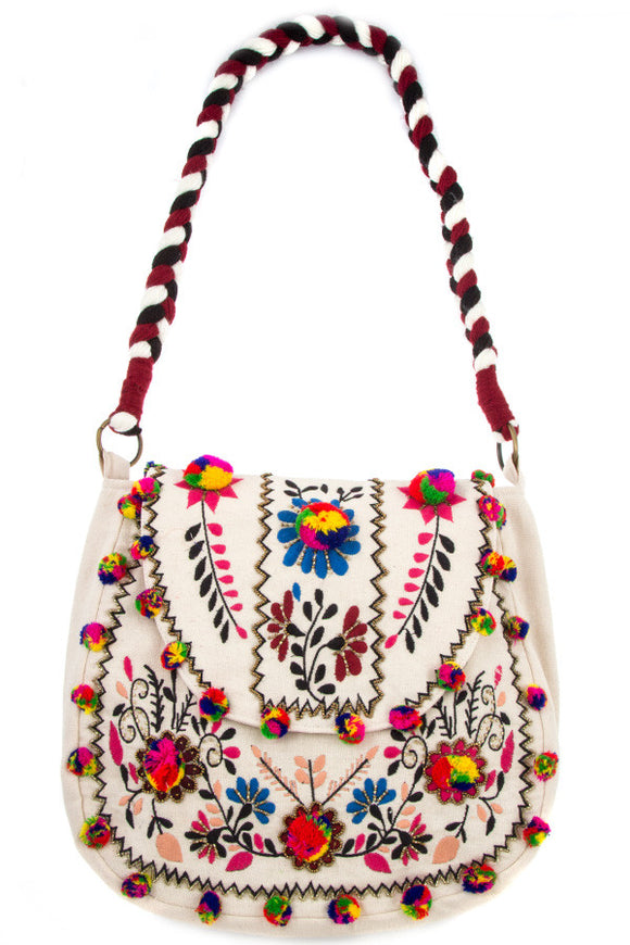 Embroidered Pom Pom Accented Flower Shoulder Bag