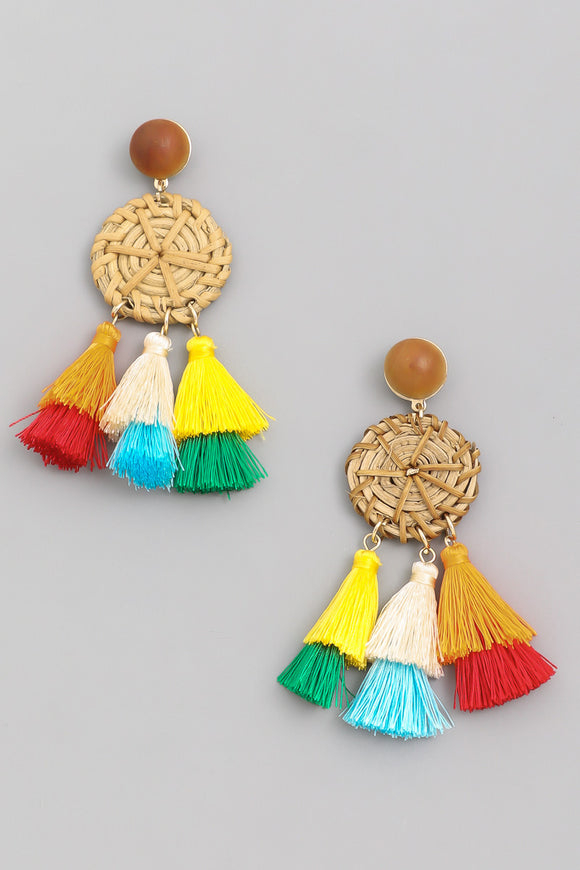 Bohemian Straw Drop Earrings