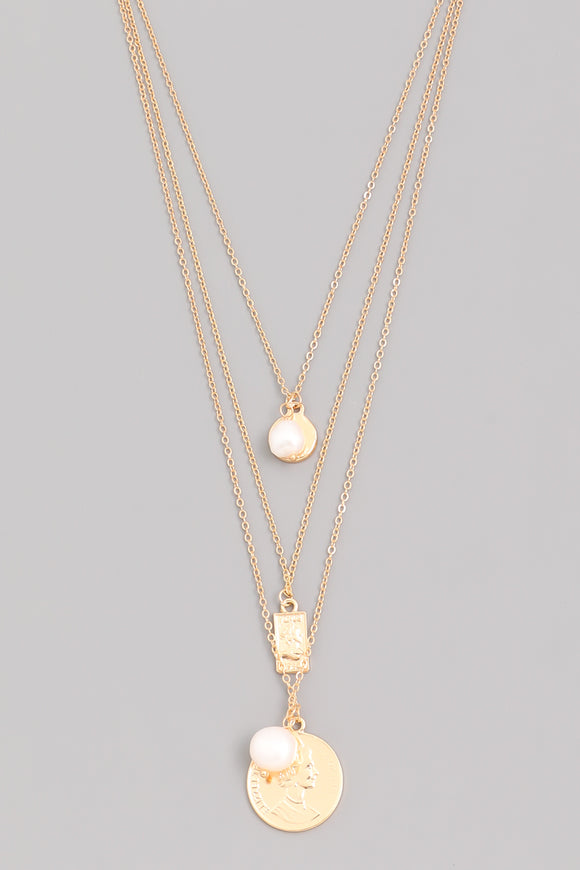Layered Pearl and Coin Necklace