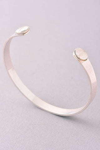 Matte Silver Open Ended Bangle