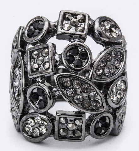 Mix Shape Paved Crystal Ring