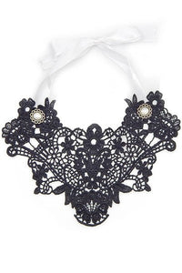 Black Lace and Pearl Bib Necklace