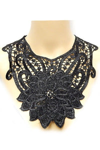Black Floral Lace Bib Necklace