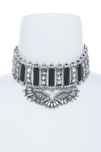Black and Crystal Ornate Choker