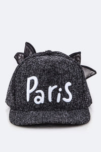Black Paris Cap with Bow