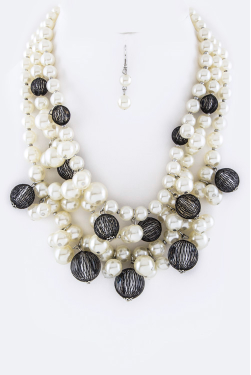 Pearls & Mesh Balls Layer Necklace Set