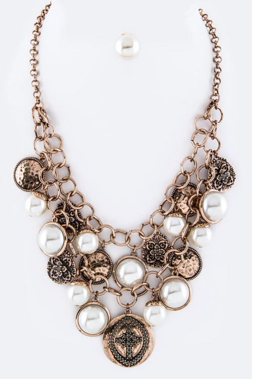 Pearls & Mix Disk Convertible Necklace