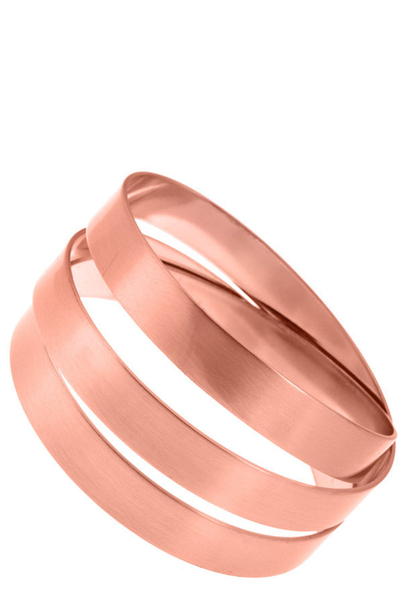 Three Line Rose Gold Metal Bangle