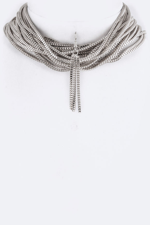 Silver Box Chain Layer Choker Set
