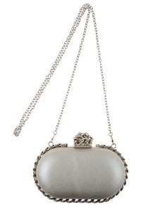 Silver Metal Clutch Bag