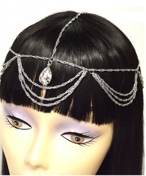 Silver Hair Chain w/ Tear Drop Crystal