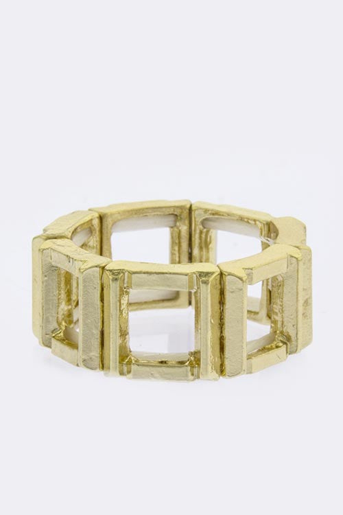 Gold Square Frame Link Ring