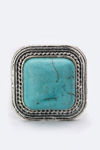 Square Turquoise Stretch Ring