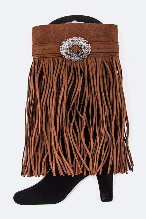 Suede Fringe Boot Cover