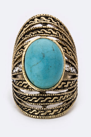 Oval Turquoise Statement Ring