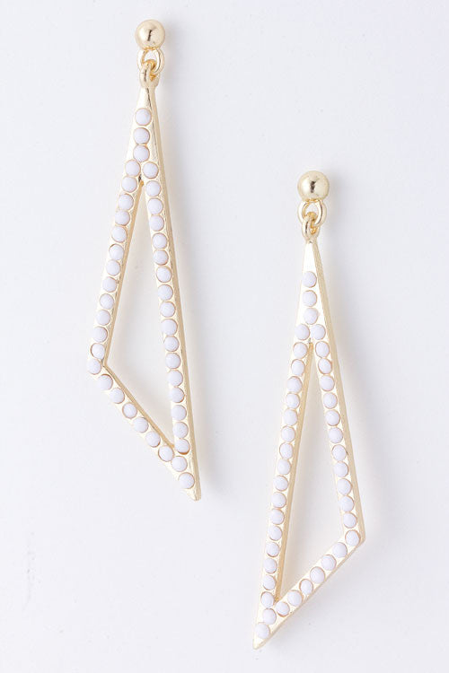 White Beaded Triangle Earrings