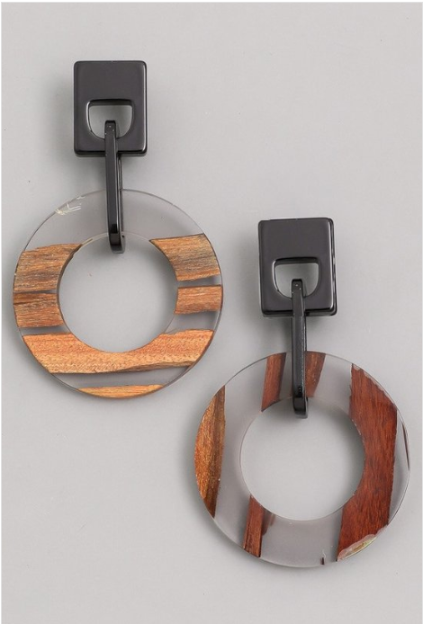 Wood & Acrylic Earrings