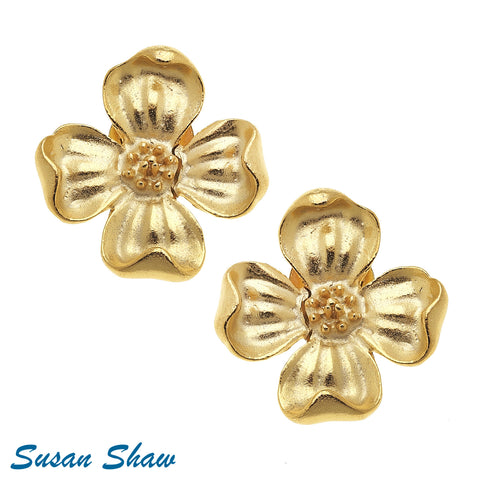 Susan Shaw Handcast Gold Dogwood Earrings