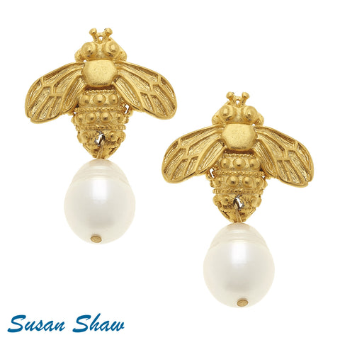 Susan Shaw Handcast Gold Bee with Freshwater Pearl Earring