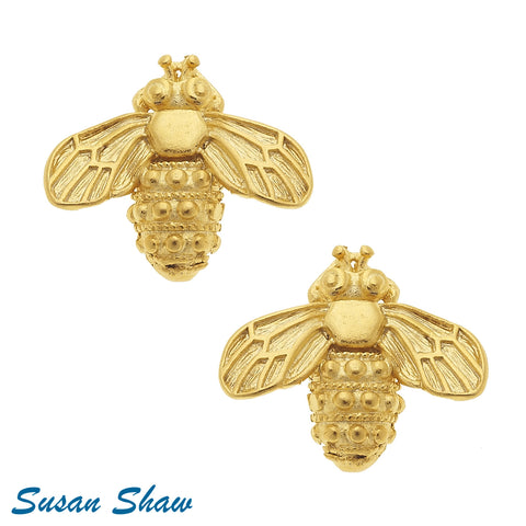 Susan Shaw Handcast Bee Stud Earrings