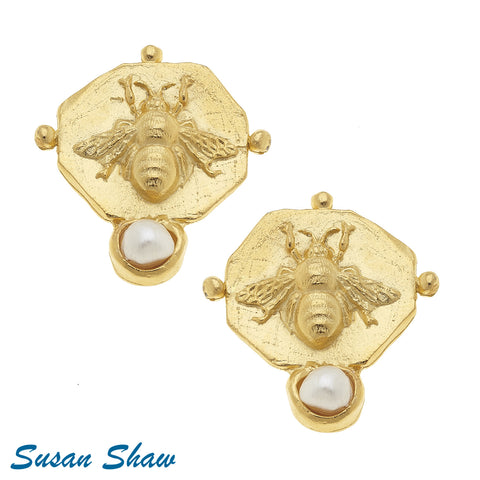 Susan Shaw Handcast Gold Bee Intaglio Earrings